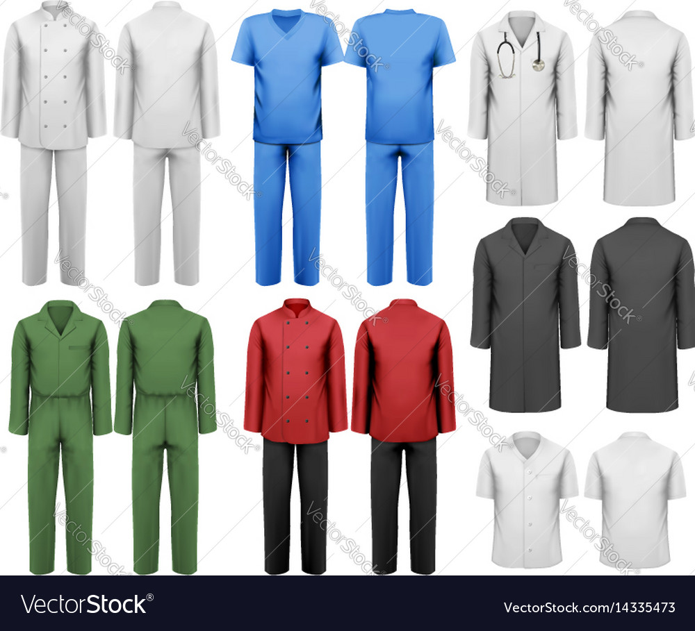 Set of white and colorful work clothes design