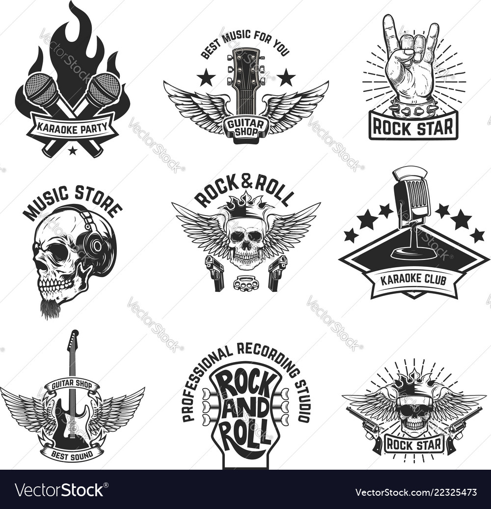 Set rock music emblems isolated on white vector