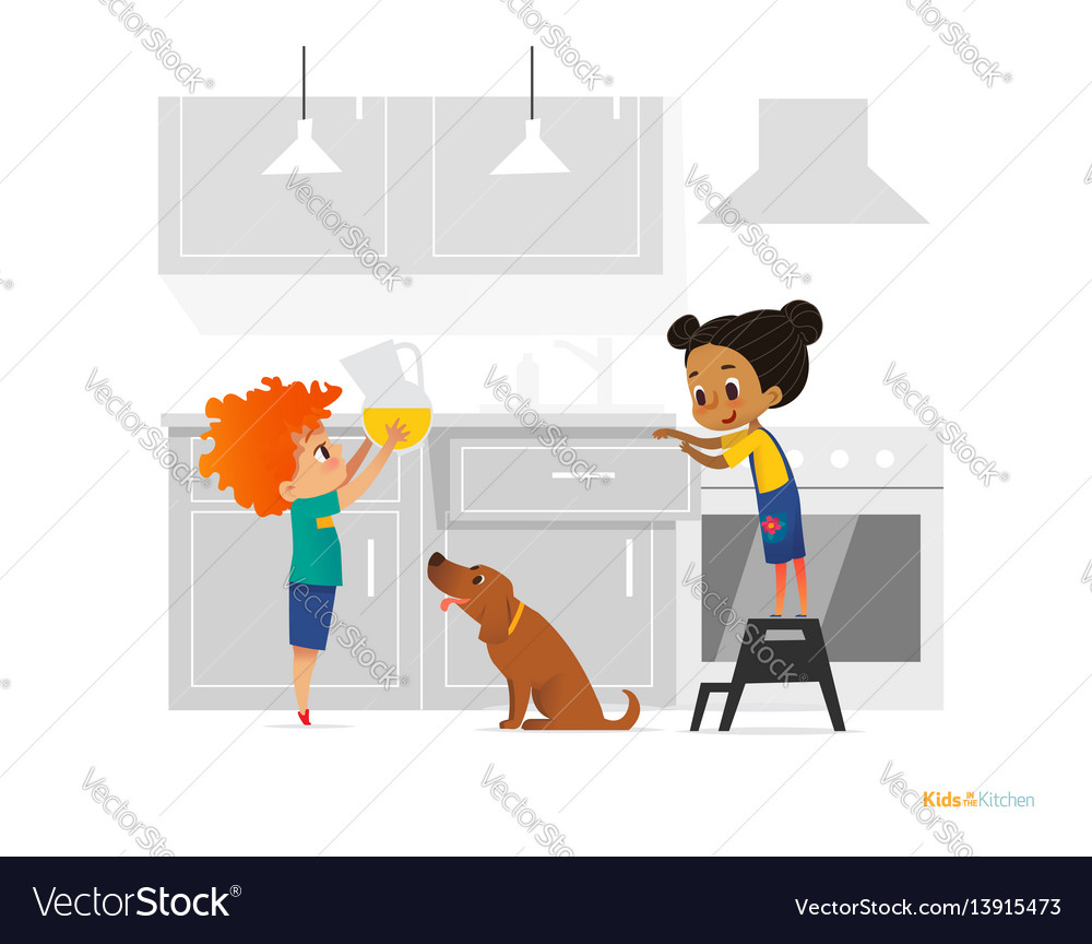 Two kids cooking morning breakfast in kitchen