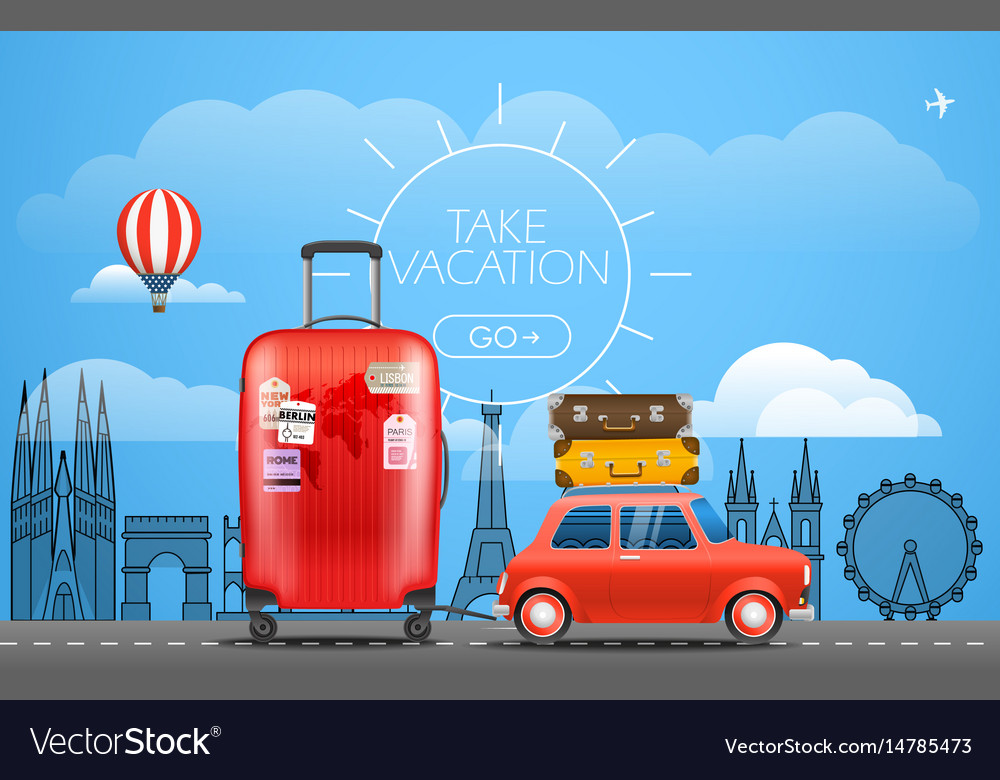 Vacation travelling concept car with baggage take