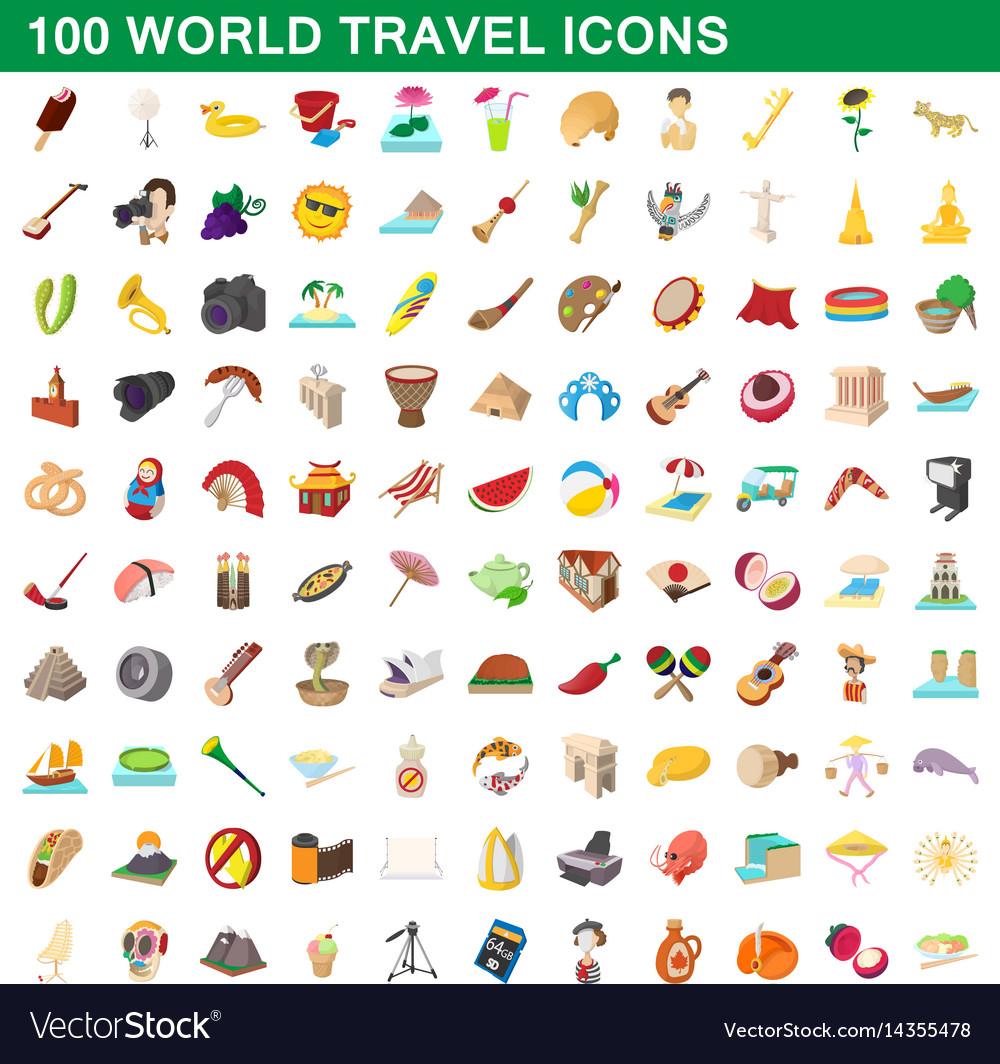100 world travel icons set cartoon style
