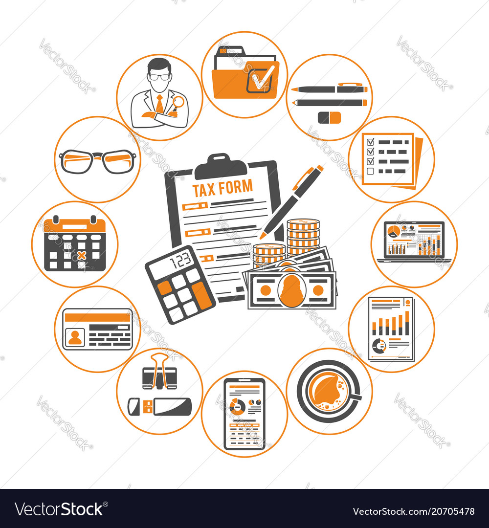 Auditing tax accounting infographics vector image
