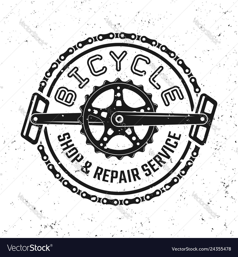 Bicycle pedals and chain round retro emblem