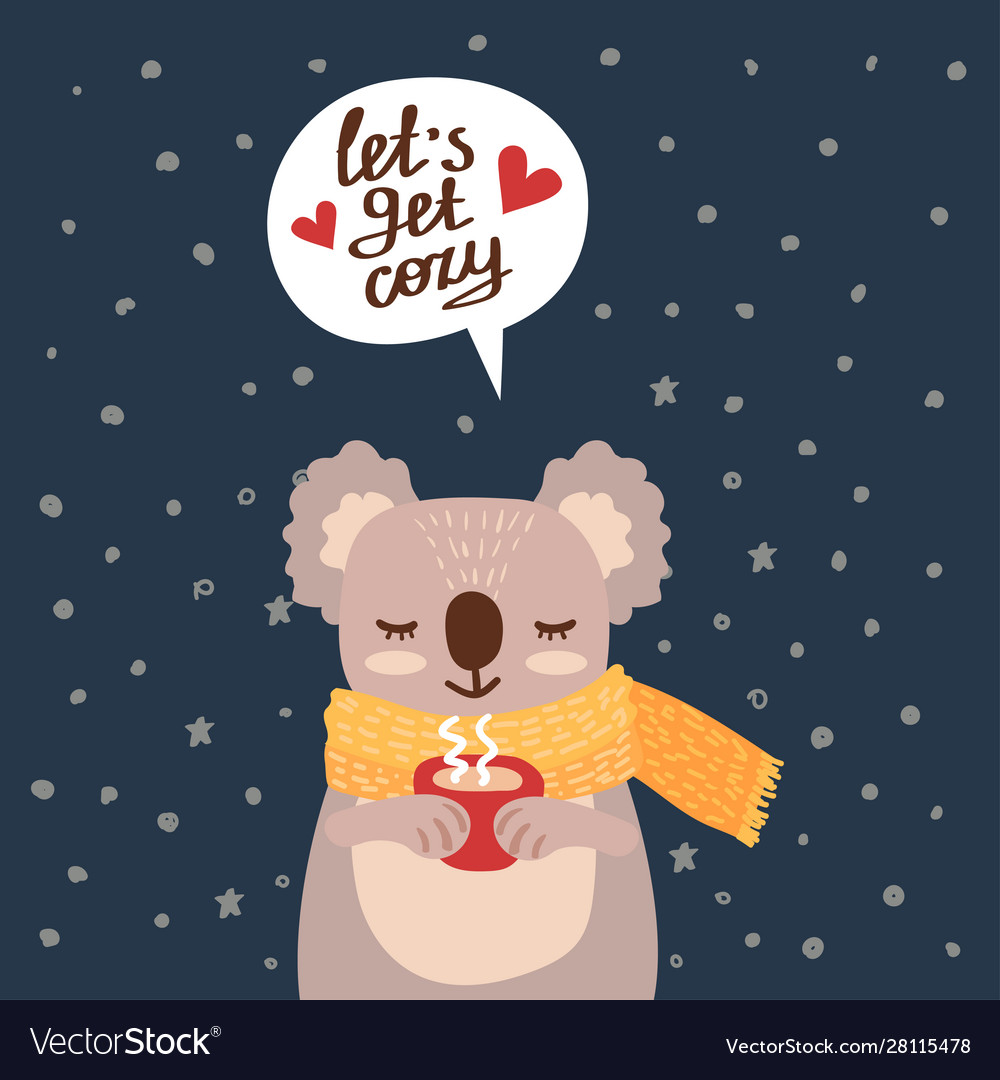 Christmas card with cute koala