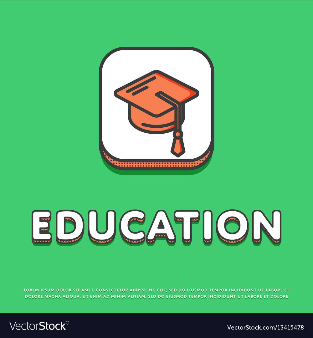 Education icon with graduation cap