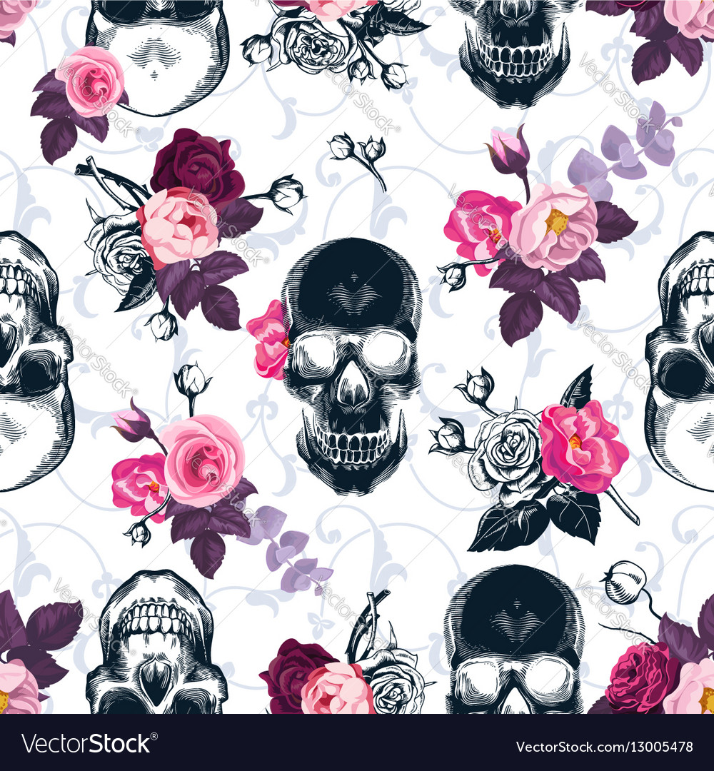 Floral seamless pattern with monochrome human