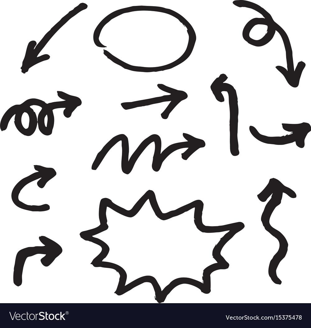 Hand Draw Arrow Royalty Free Vector Image Vectorstock
