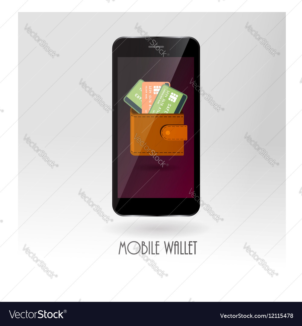 Money wallet with credit card symbols on mobile vector image