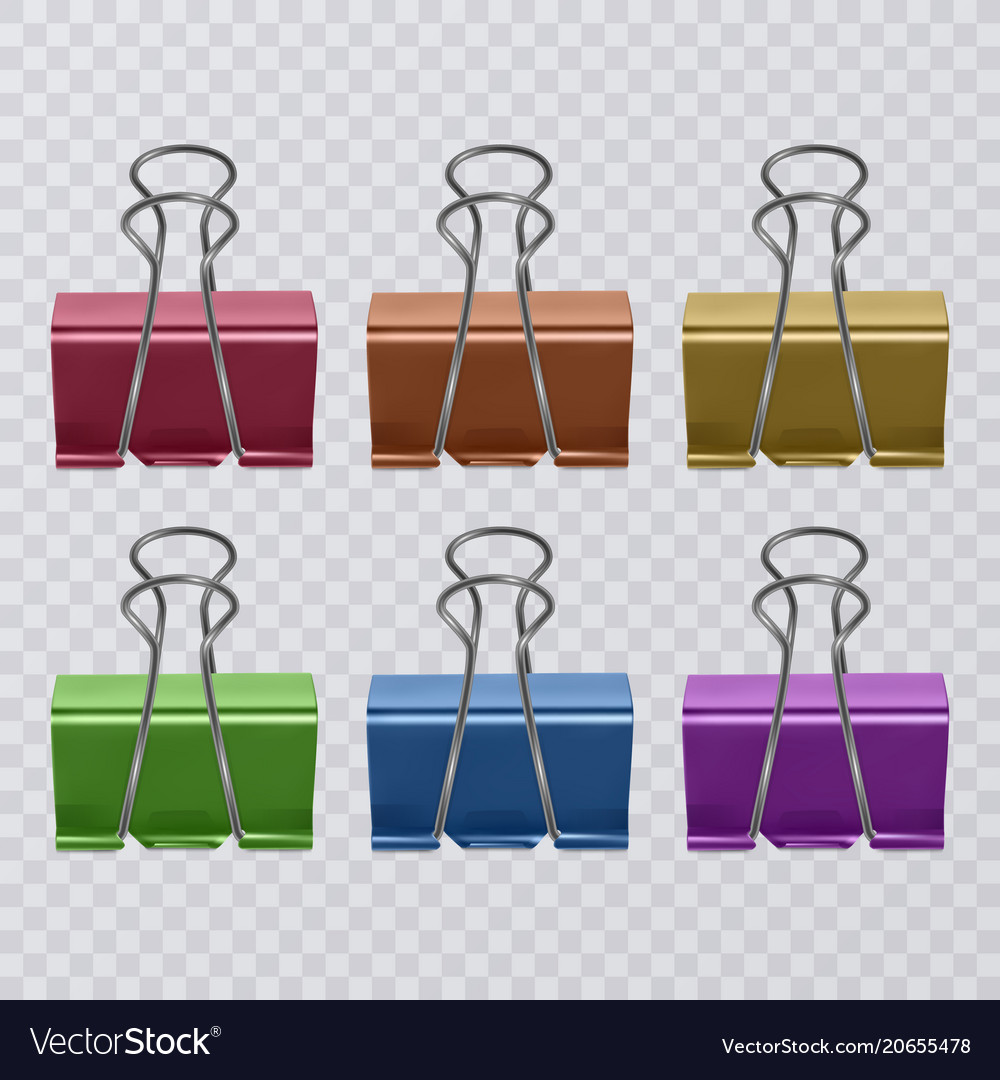 Set of colorful realistic document clips isolated