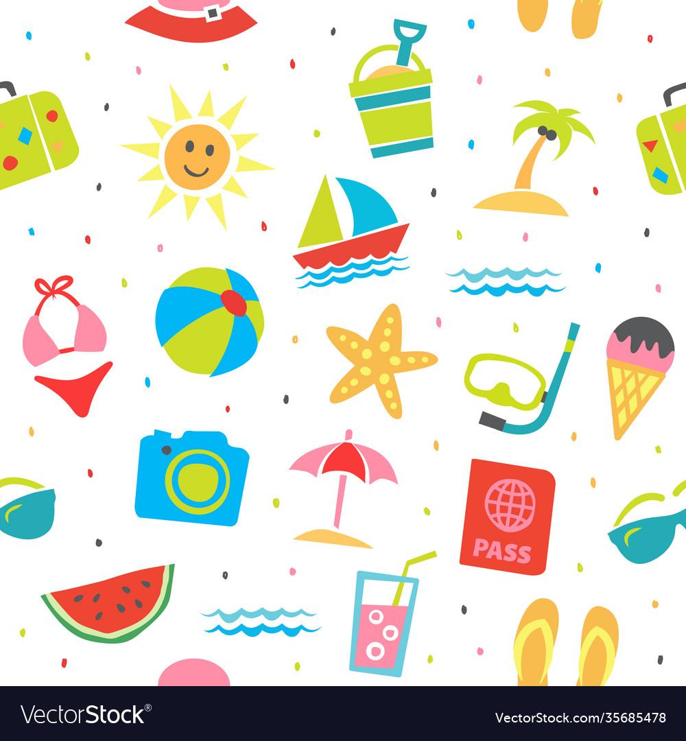 Summer seamless pattern summer background