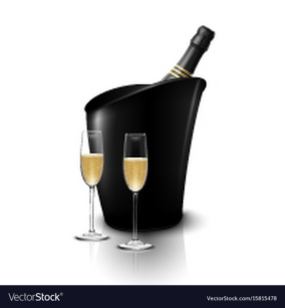 Two wineglass with wine bottles of champagne