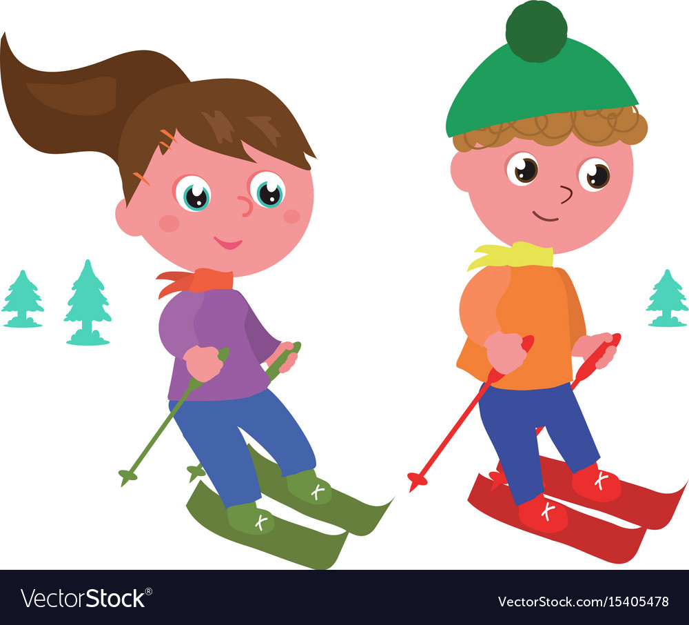 Young skiers isolated