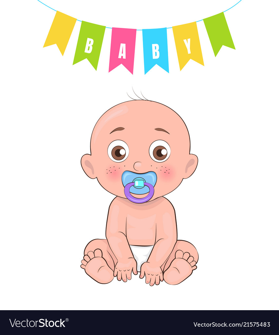 Baby boy poster of newborn infant pacifier
