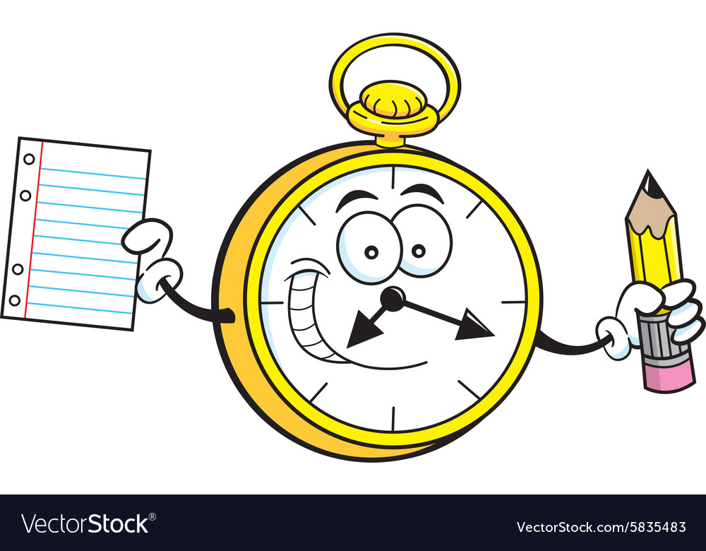 Cartoon watch holding a paper and pencil vector image