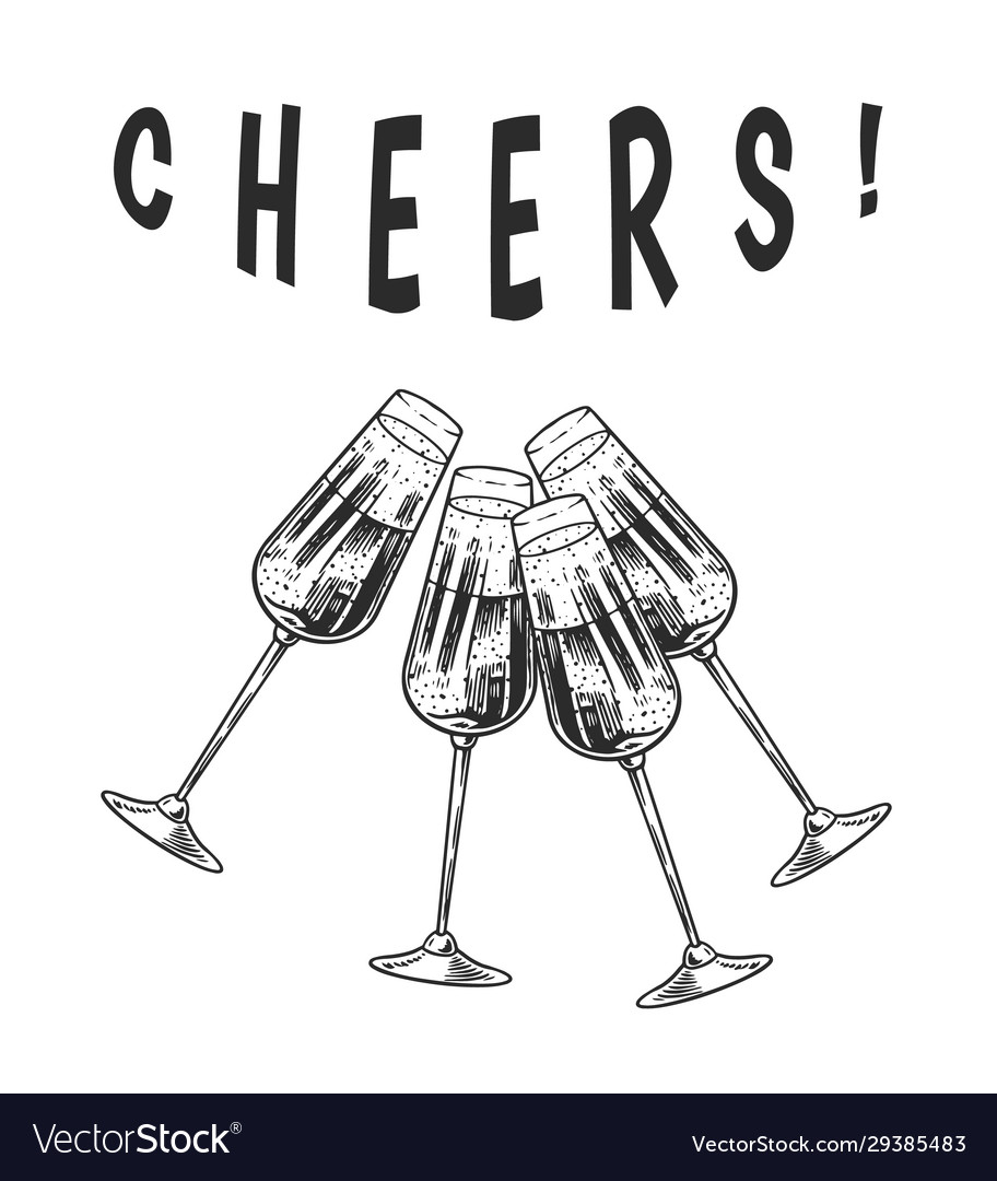 Cheers toast clink glasses champagne or