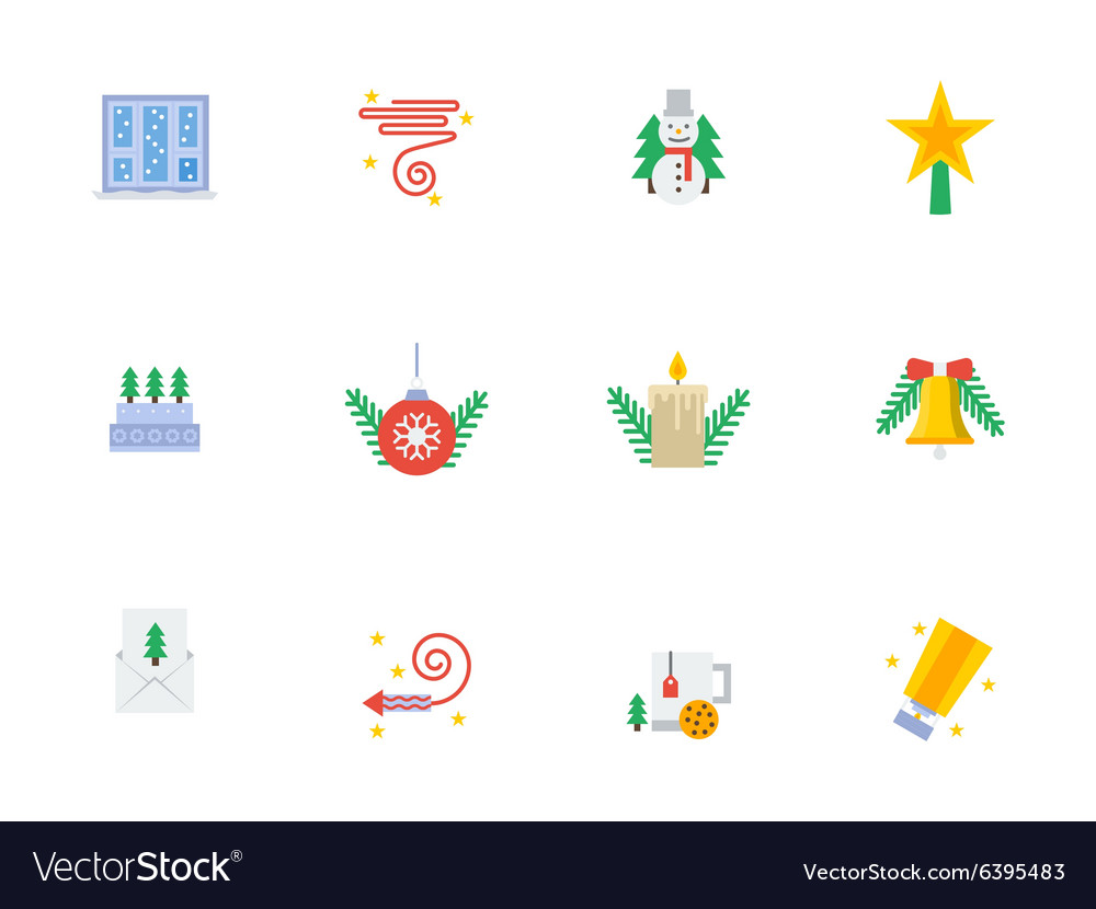Christmas events symbols flat color icons