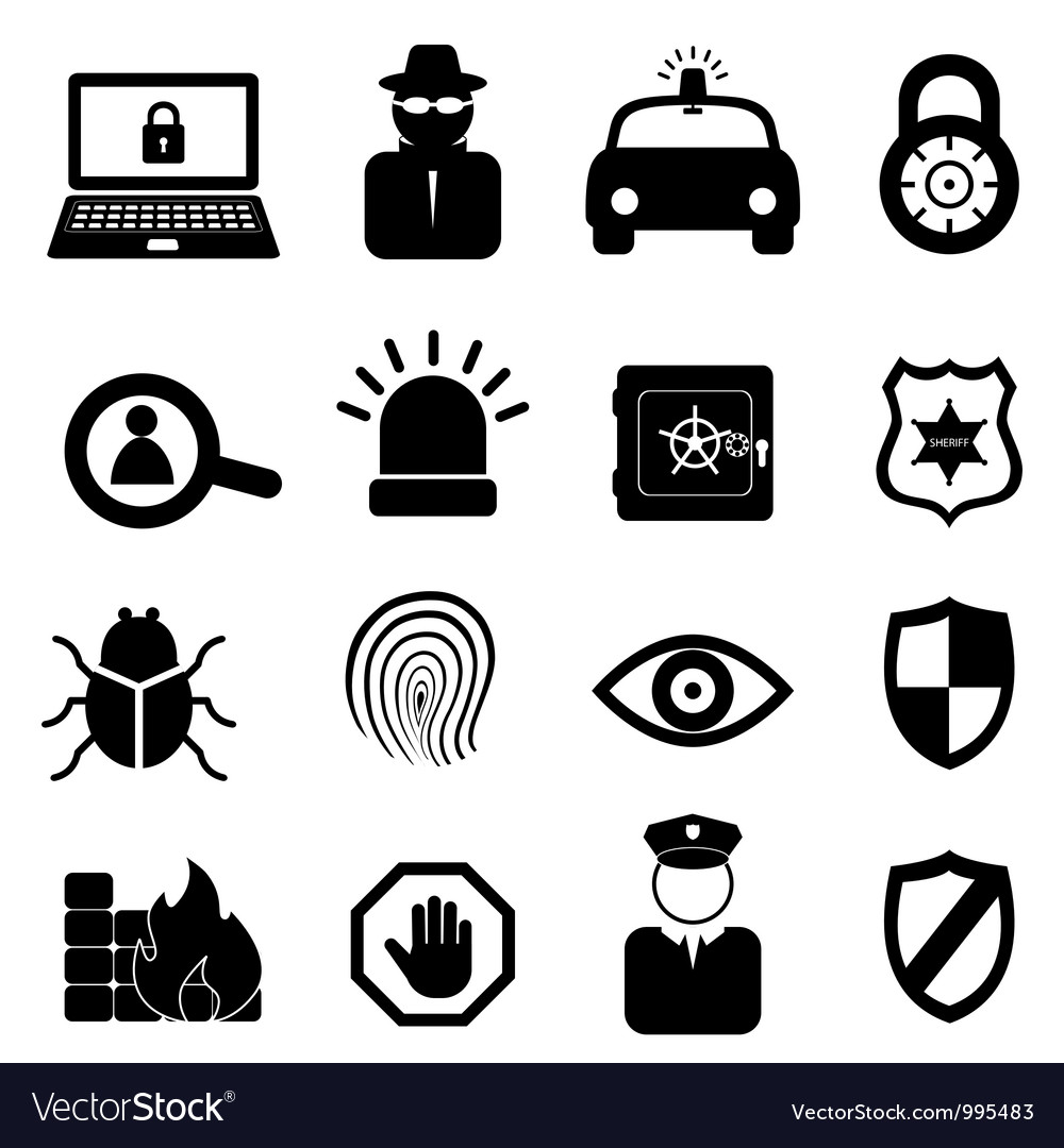 Computer and cyber security icons