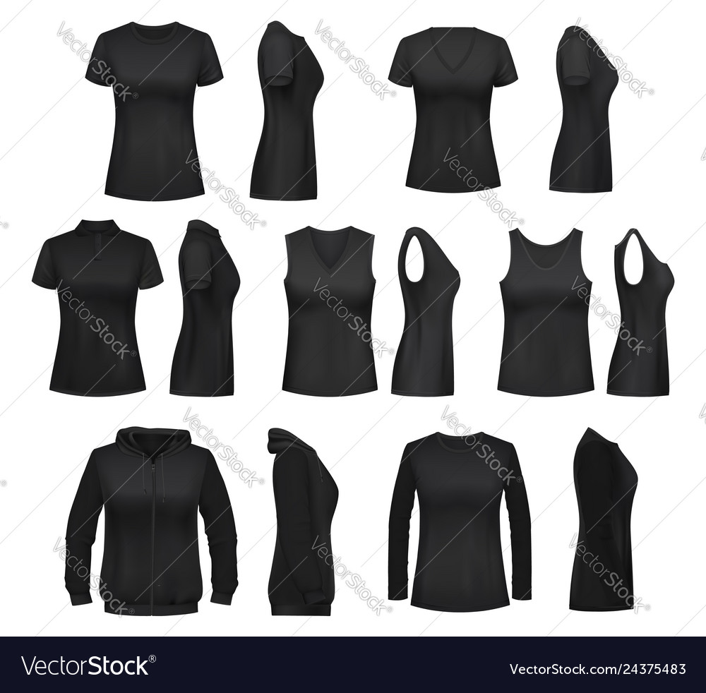 Female clothes isolated mockups t-shirt