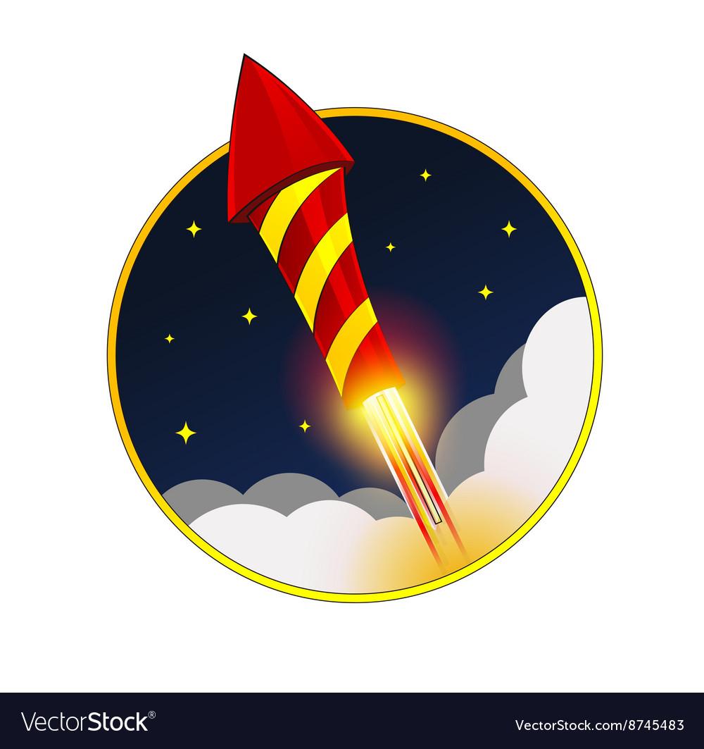 Firework Rocket Flying in Sky