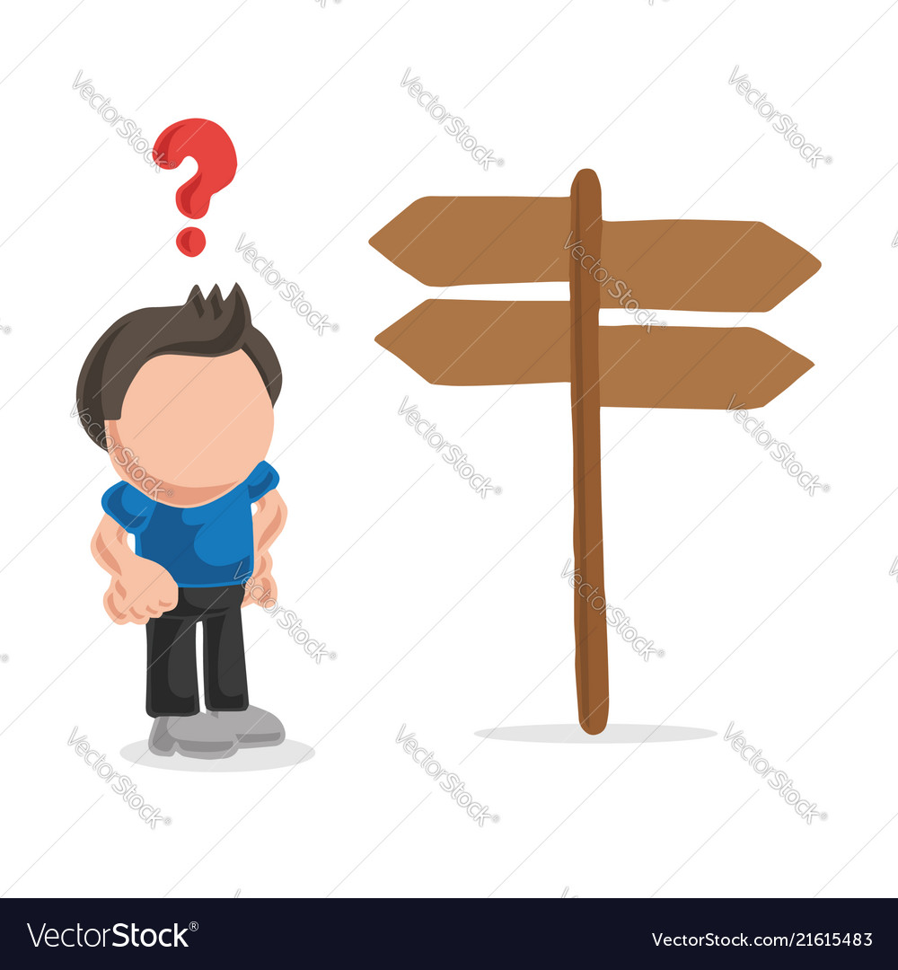 Hand Drawn Cartoon Of Confused Lost Man Standing Vector Image