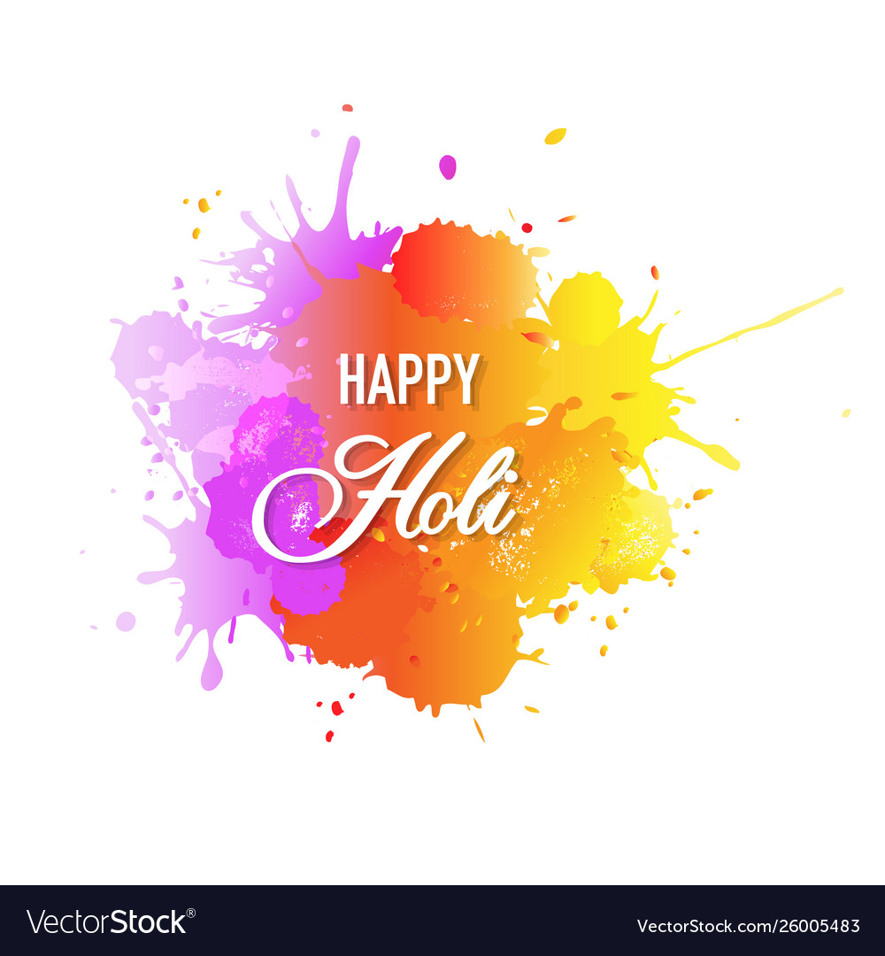 Happy holi card with blobs white background