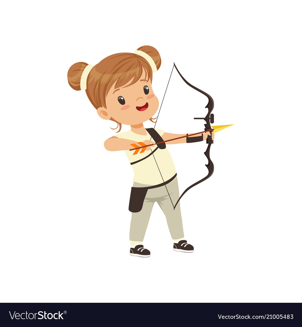 Little girl practicing in archery kids physical