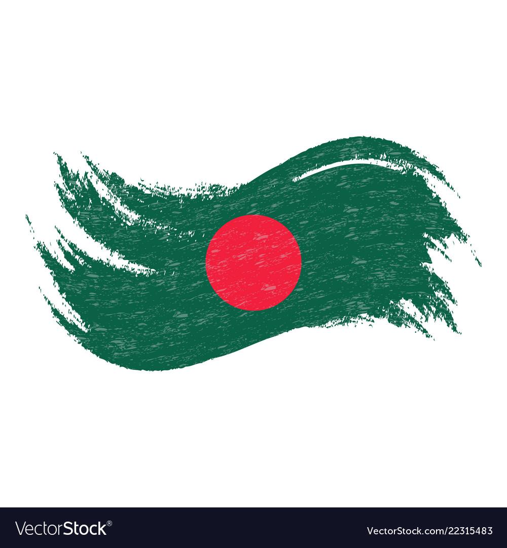 National flag of bangladesh designed using brush