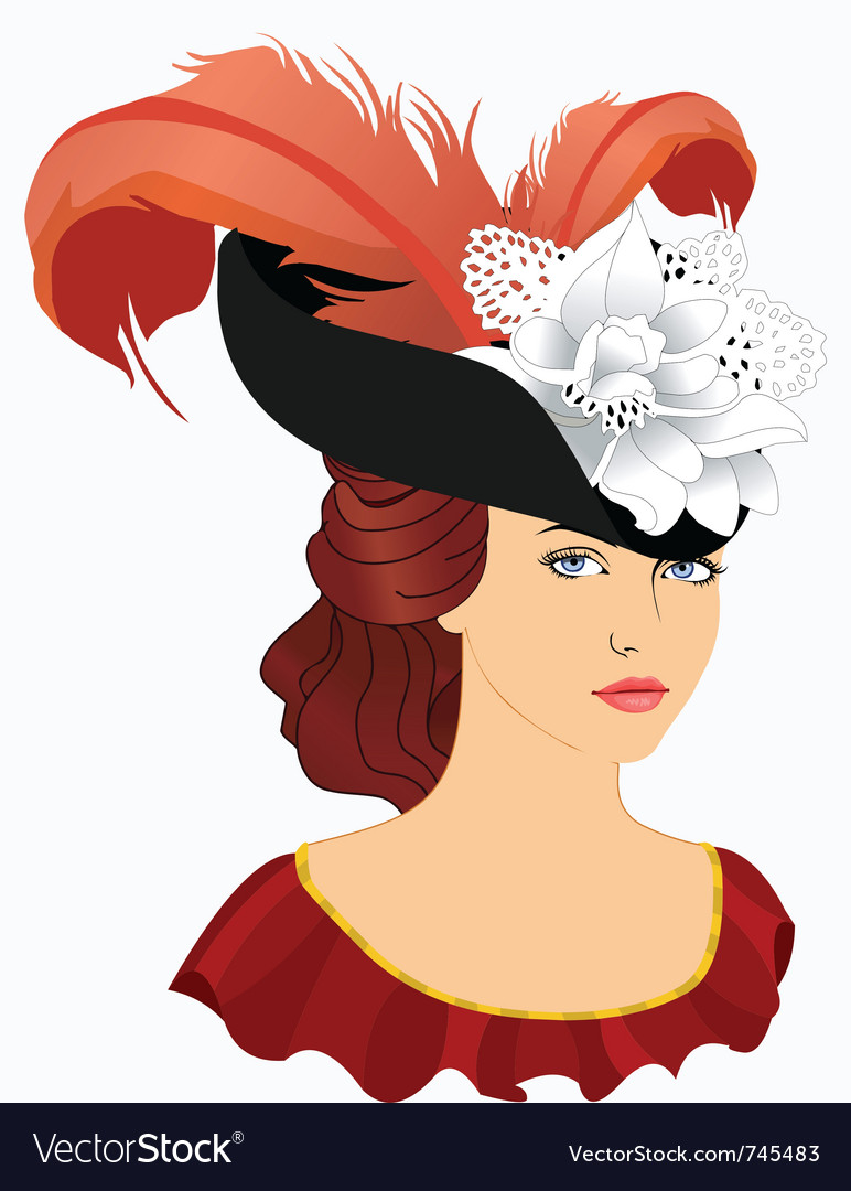 Portrait of young lady in hat