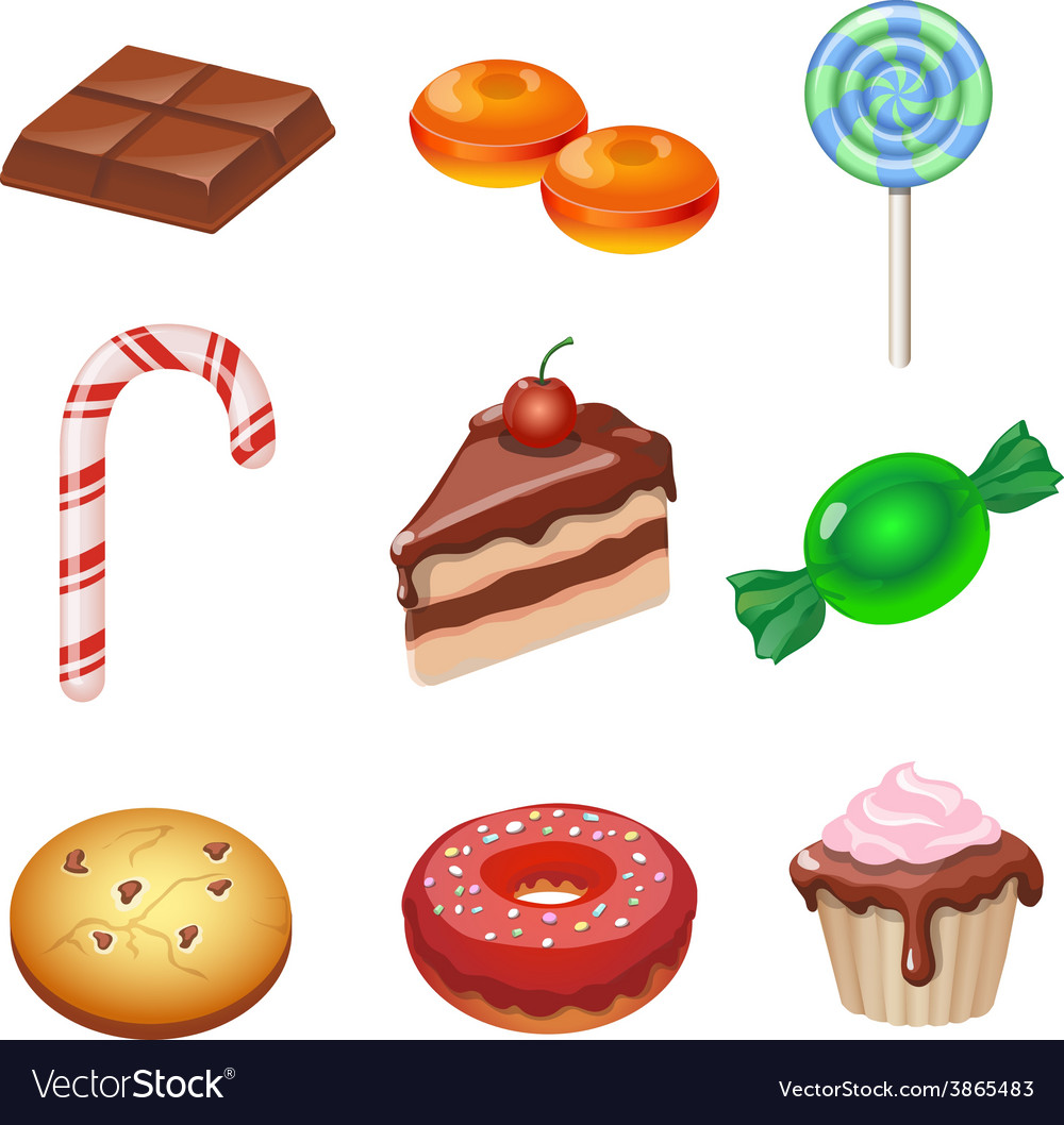 Set of colorful various candy sweets and cakes