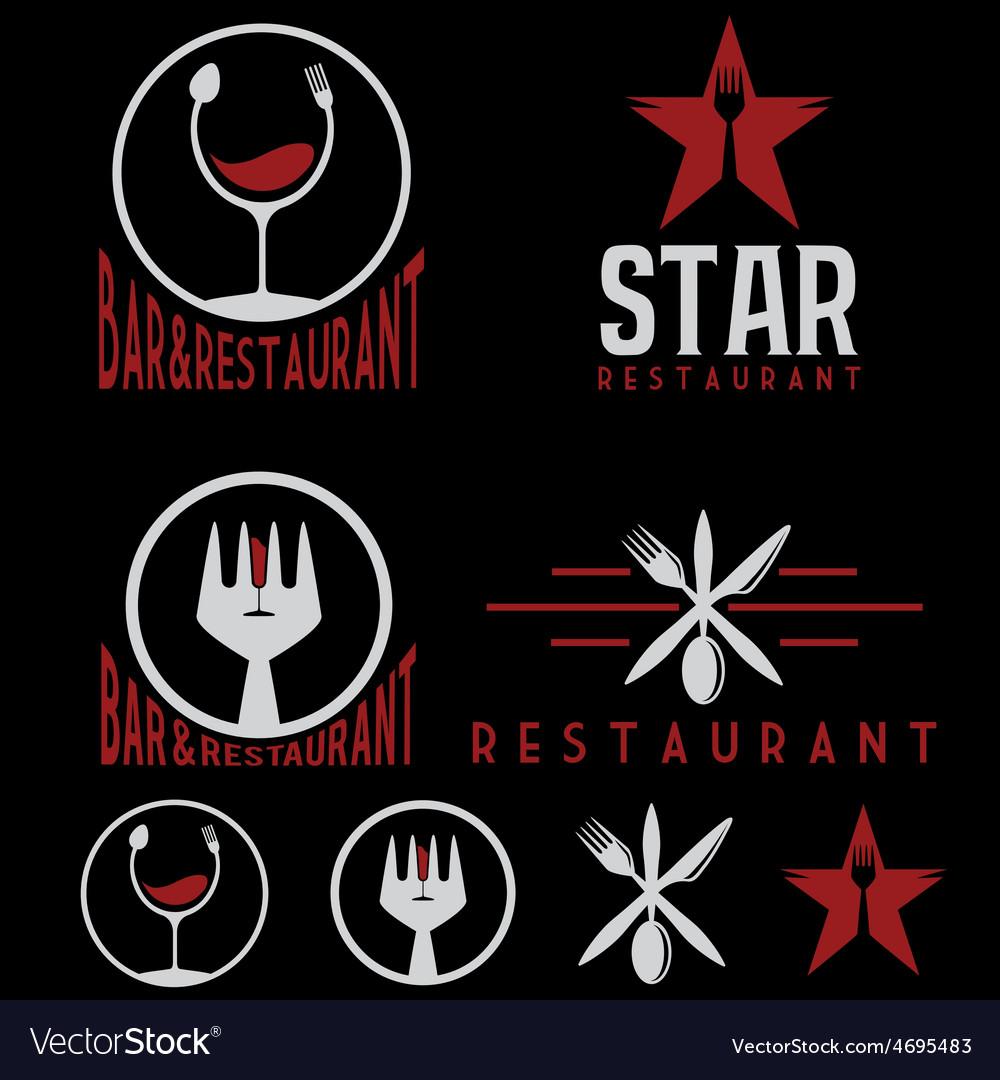 Set of vintage cafe and restaurant emblems
