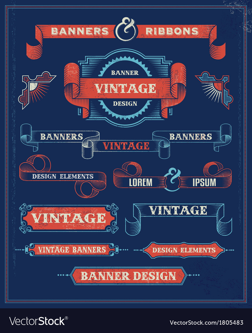 Vintage Banners and Ribbon Design Elements