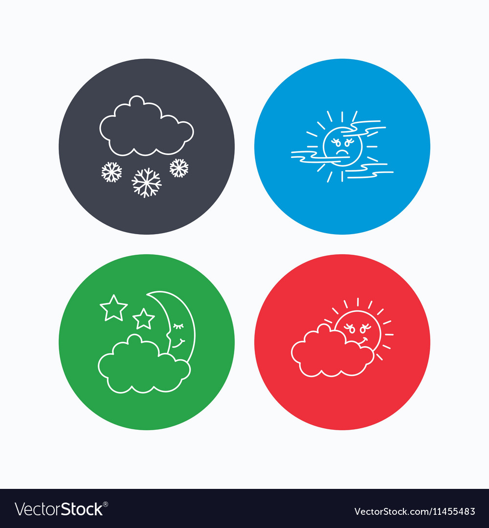 Weather Mist And Snow Icons Royalty Free Vector Image