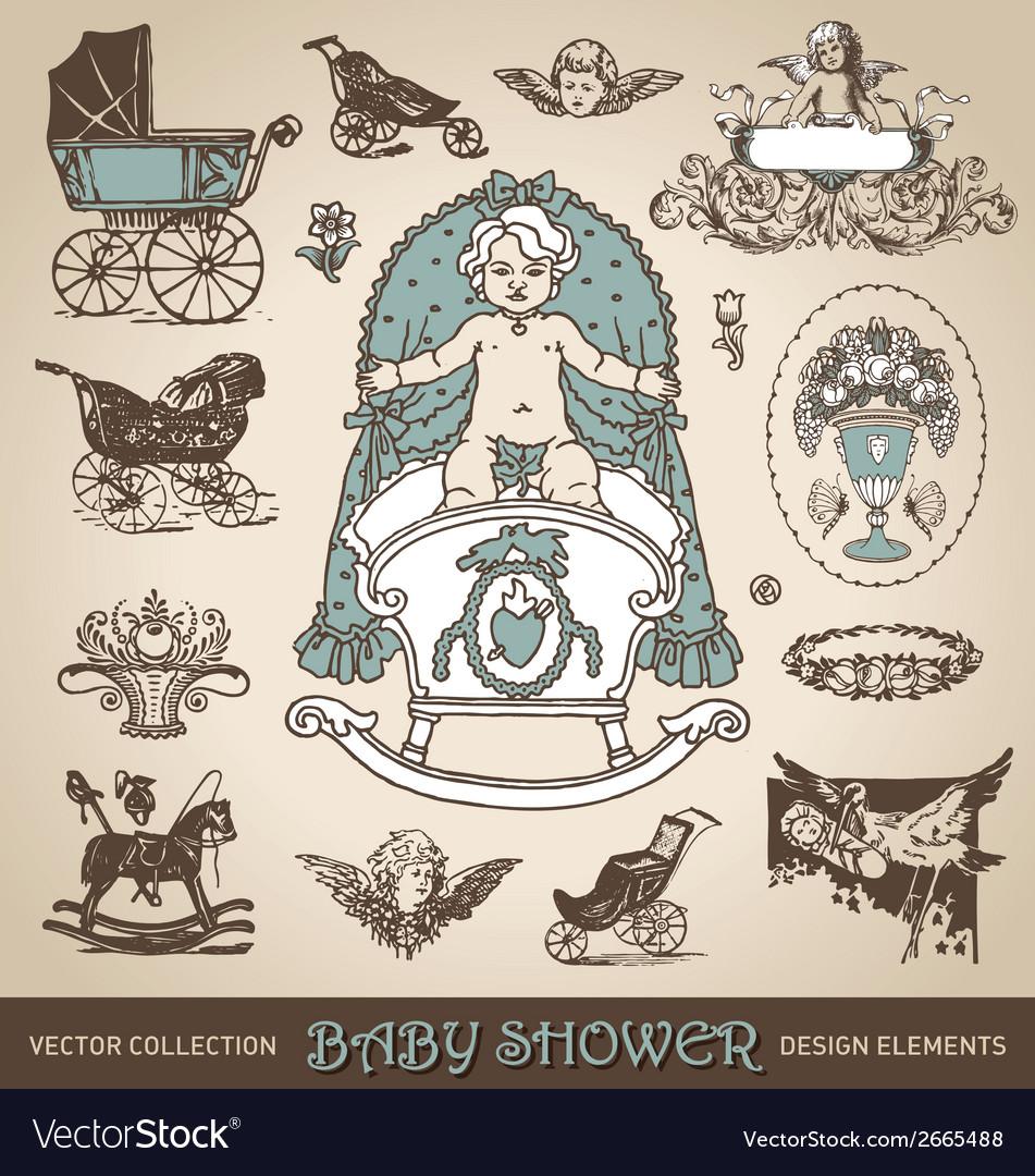 Baby shower antique design elements set