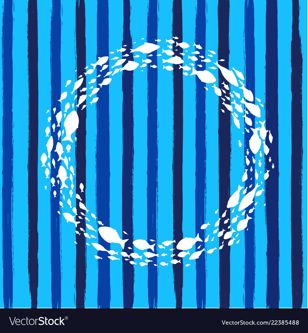 Blue poster with line and fish symbol ball