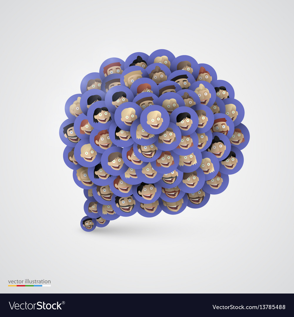Blue speech bubble made of smiling faces
