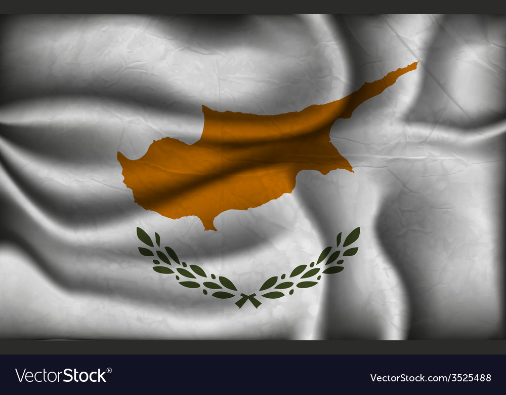 Crumpled flag of Cyprus on a light background