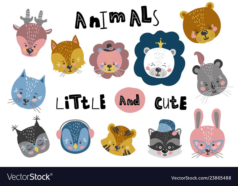Cute cartoon little animals childish print for
