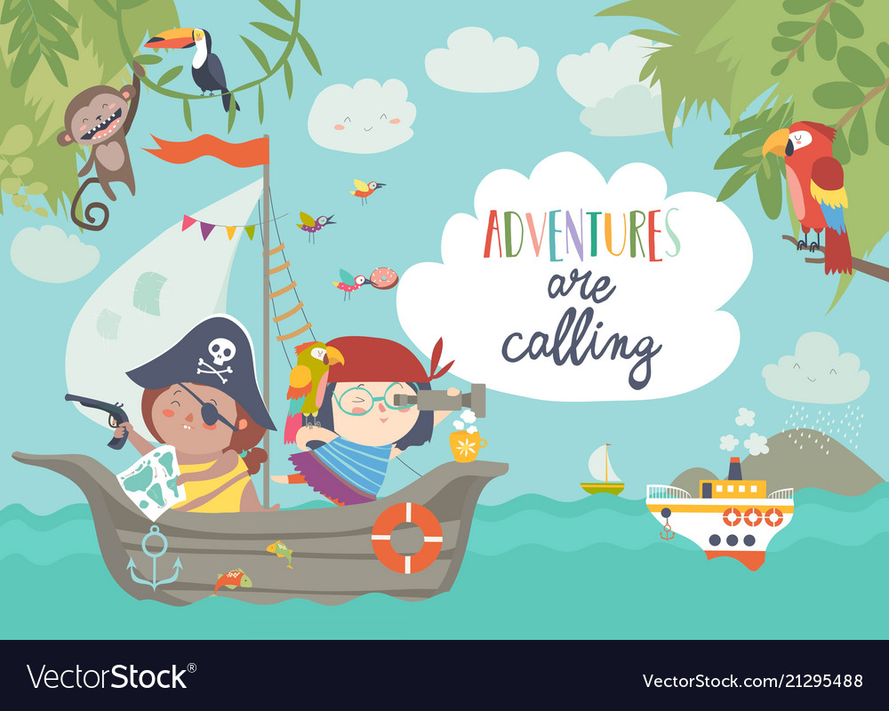 Cute pirates sailing in their ship