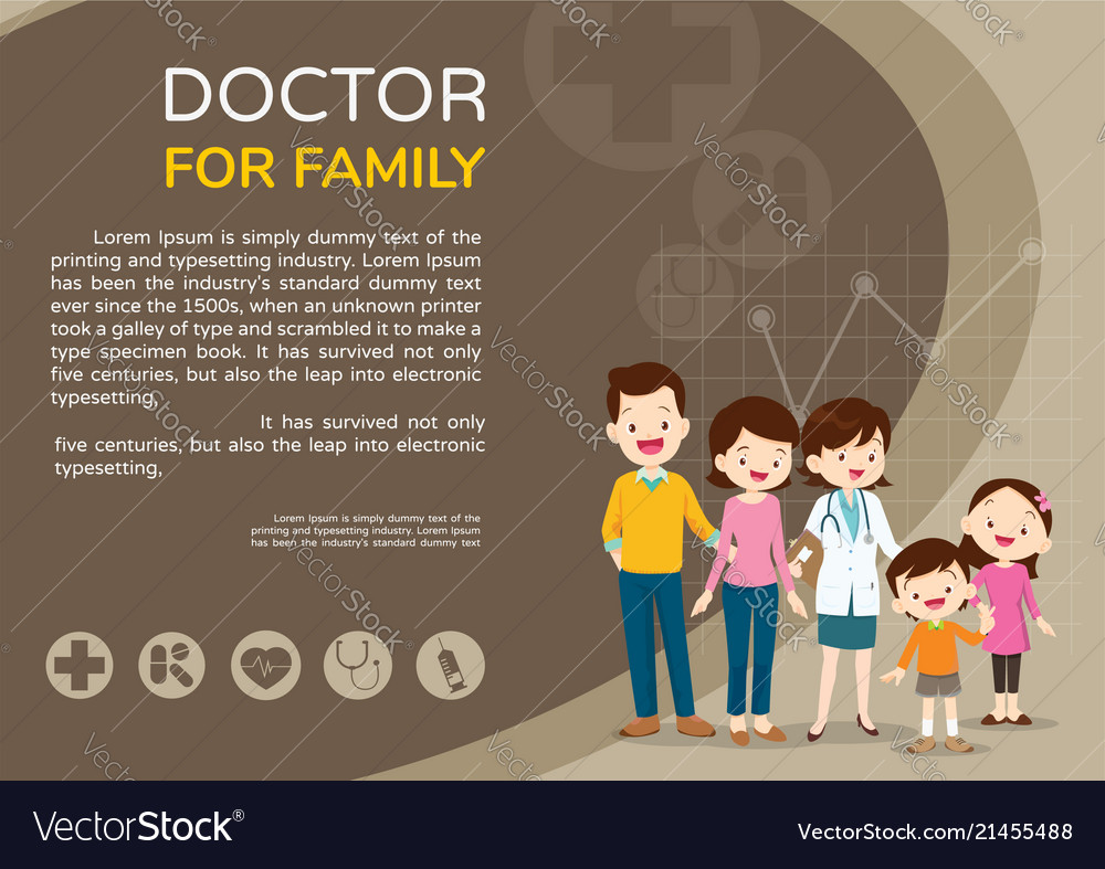 Doctor woman and cute family background poster