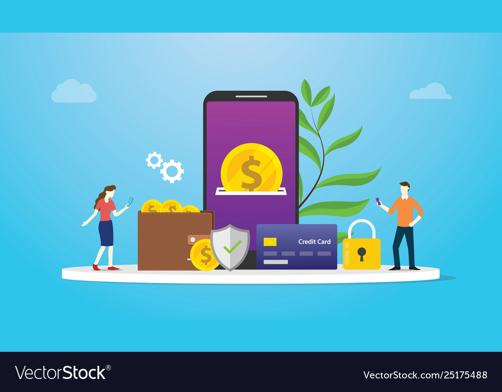 E-wallet technology payment concept with team
