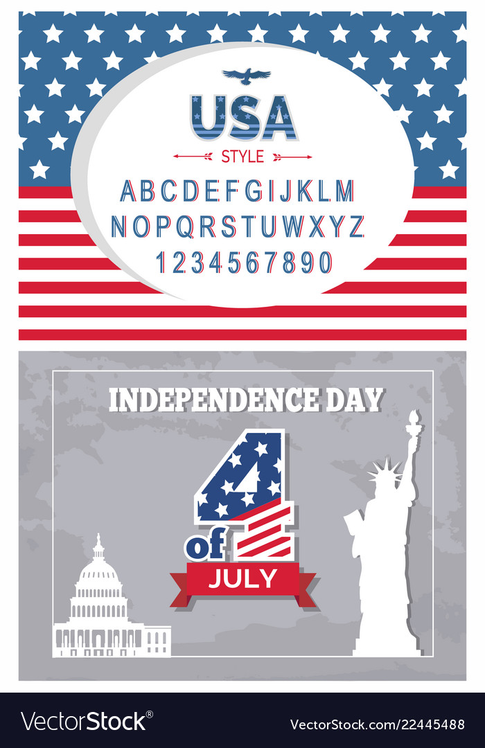 Flag day typography poster set independence 4 july
