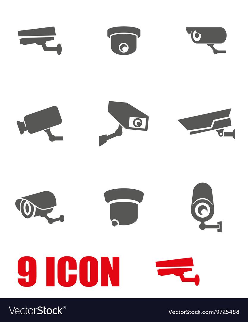 Grey security camera icon set