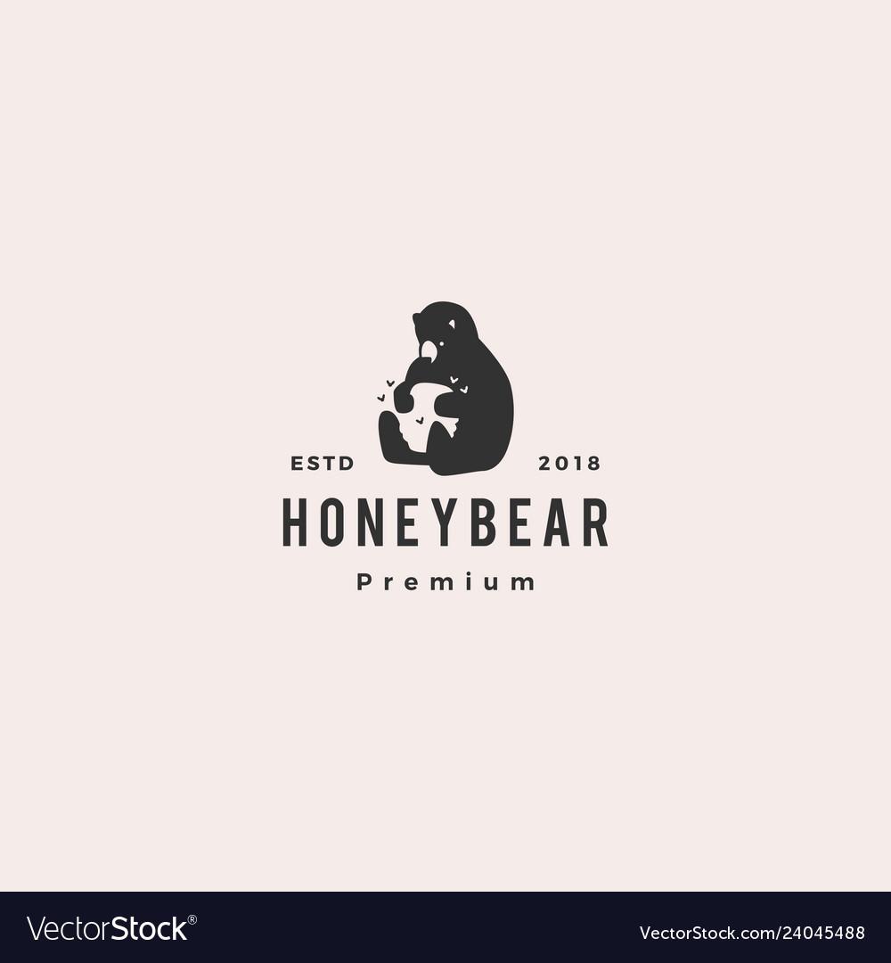 Honey bear logo hipster retro vintage icon label