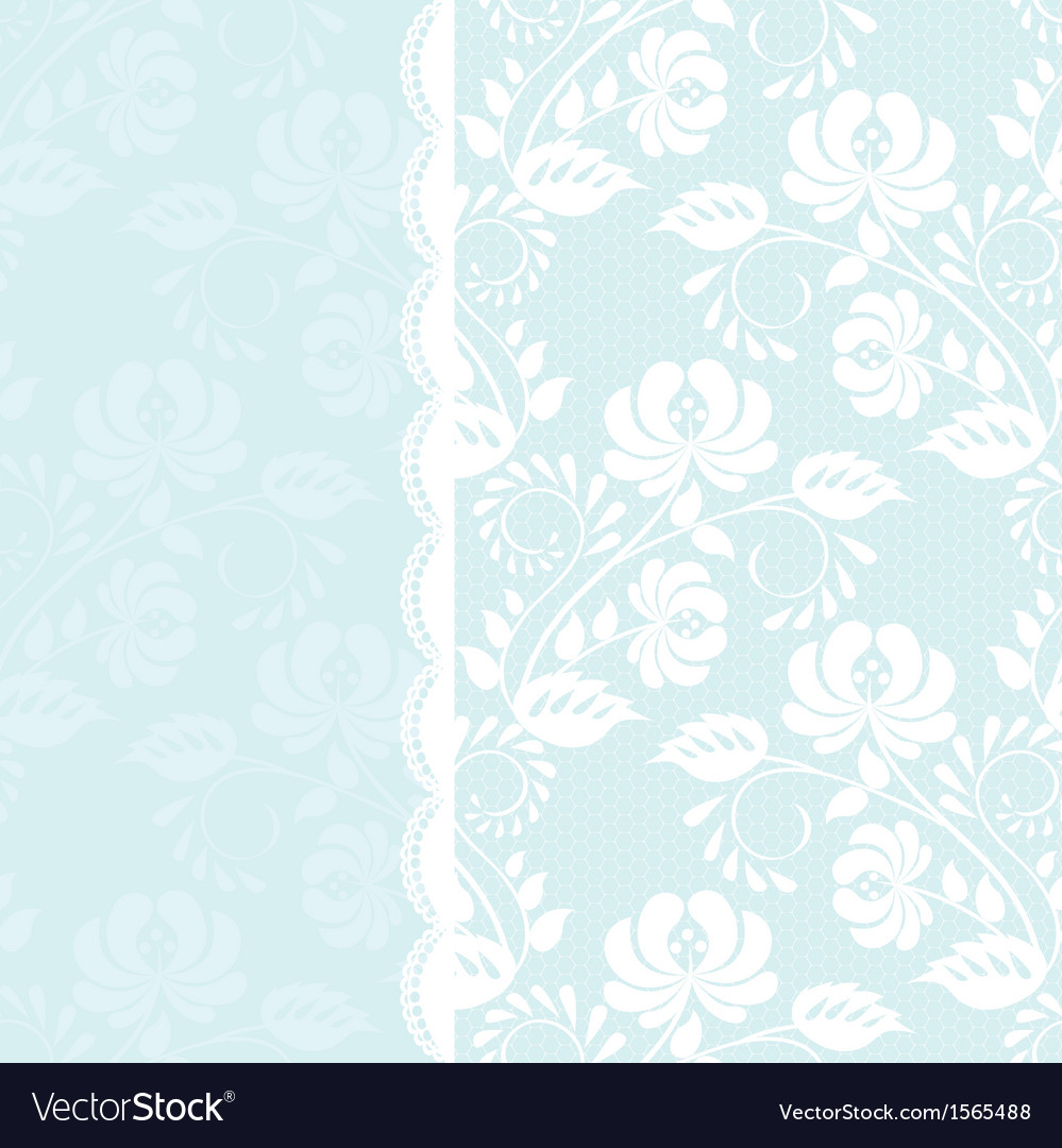 lace rose border on blue background royalty free vector