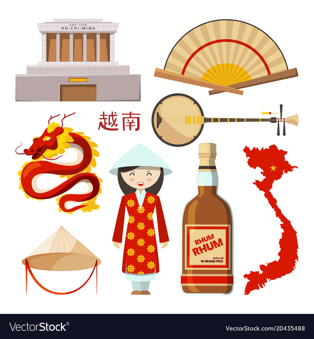 Landmarks And Symbols Of Vietnam Royalty Free Vector Image
