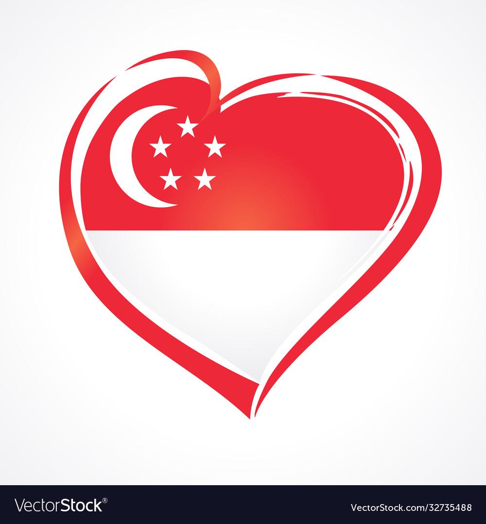 Love singapore flag emblem
