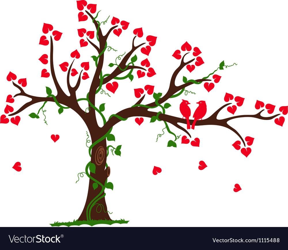 Love Tree with Heart liana and vine vector image
