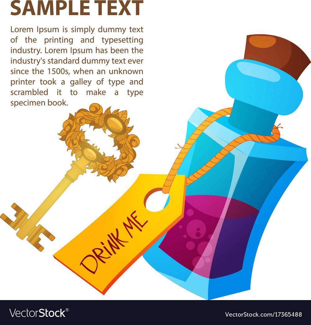 Magical elixir and golden key in a glass bottle