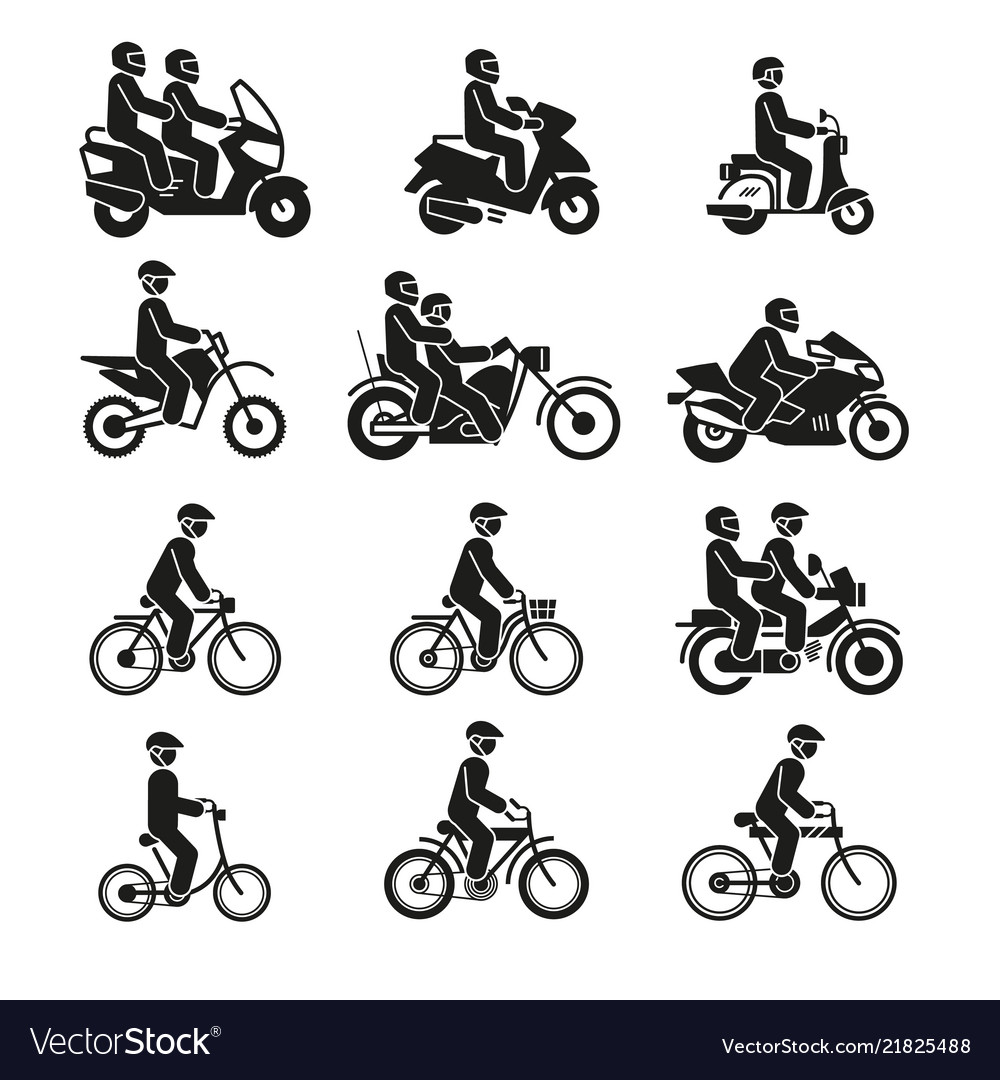 Motorcycles and bicycles icons moto vehicles