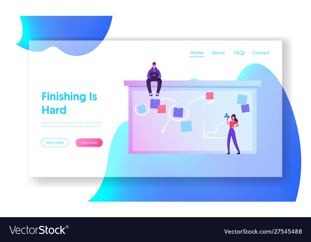Office workers website landing page woman put